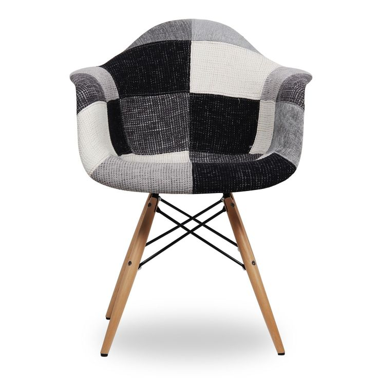 Silla wooden arms black white patchwork edition for Chaise dsw patchwork
