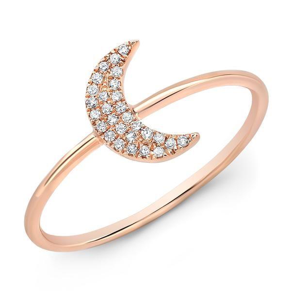 14KT Rose Gold Diamond Moon Ring
