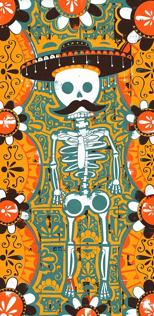 Maybe scratch art or crayon/scratch Day of the Dead Poster BY ARMIN / ON…