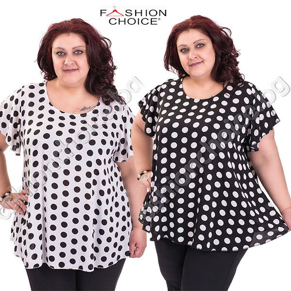 svejo.net | Актуална макси блуза с обло деколте на точки