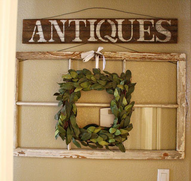 love the wreath: Diy Ideas, Decor Ideas, Window Ideas, Houses Ideas, More Diy, Old Windows, Clarendon Lane, Window Projects, Diy Projects