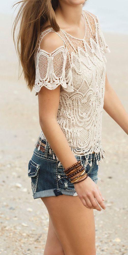 Crochet boho summer top and short find more women fashion ideas on www.misspool.com