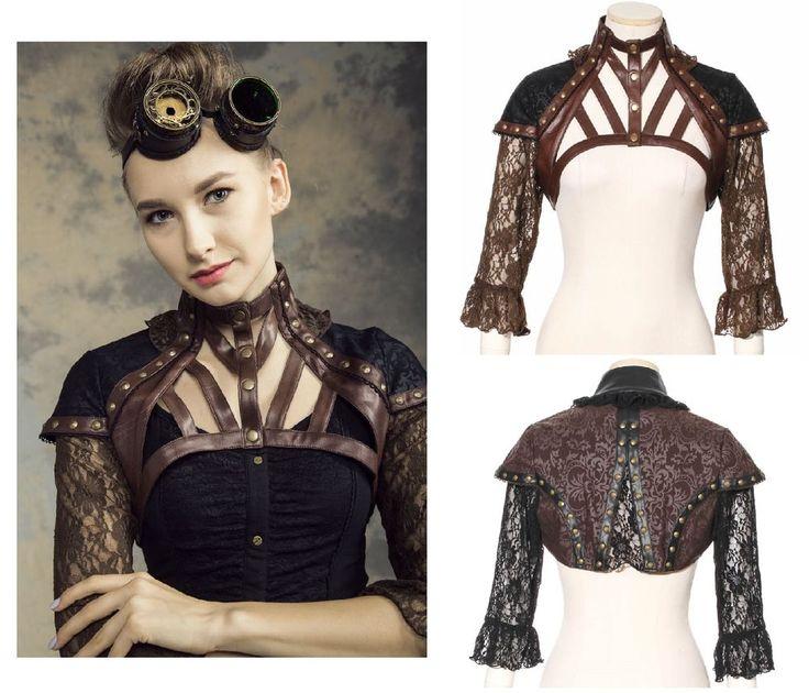 RQ-BL Steampunk Top Gothic LARP Harness Bolero Jacket Kunst-Leder Vintage SP138 in Kleidung & Accessoires, Damenmode, Blusen, Tops & Shirts | eBay