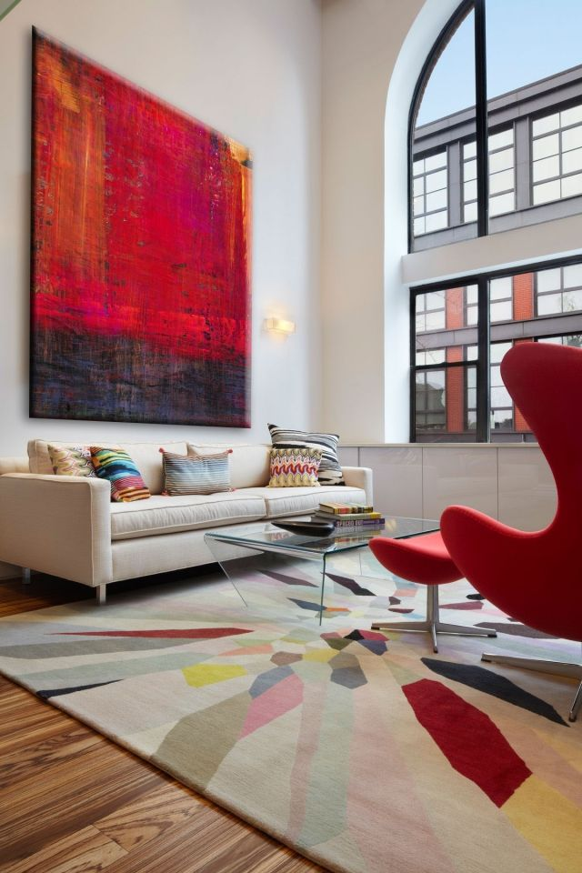 Spots Of Red, High Ceilings · Artwork For Living RoomCarpet ...