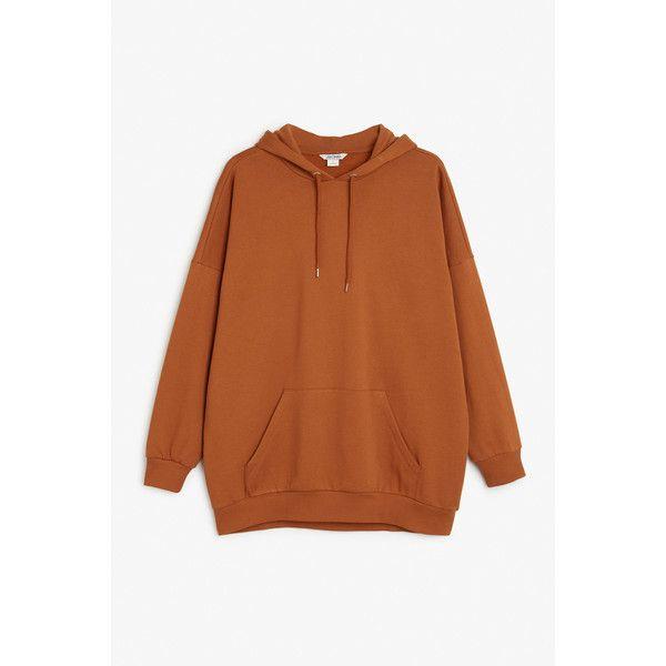 Monki NEW! Oversize hoodie ($29) ❤ liked on Polyvore featuring tops, hoodies, dark orange, brown hooded sweatshirt, oversized hooded sweatshirt, oversized hoodies, drawstring hooded pullover and hooded sweatshirt
