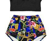 Midkini Top noir et fleur flore chaîne haute cintrée taille Short bas maillot de bain Bikini set maillot de bain de bain baignade costume usure pièce S M L