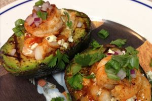 Grilled avocado with tiger prawns Recipe | California Avocado Commission