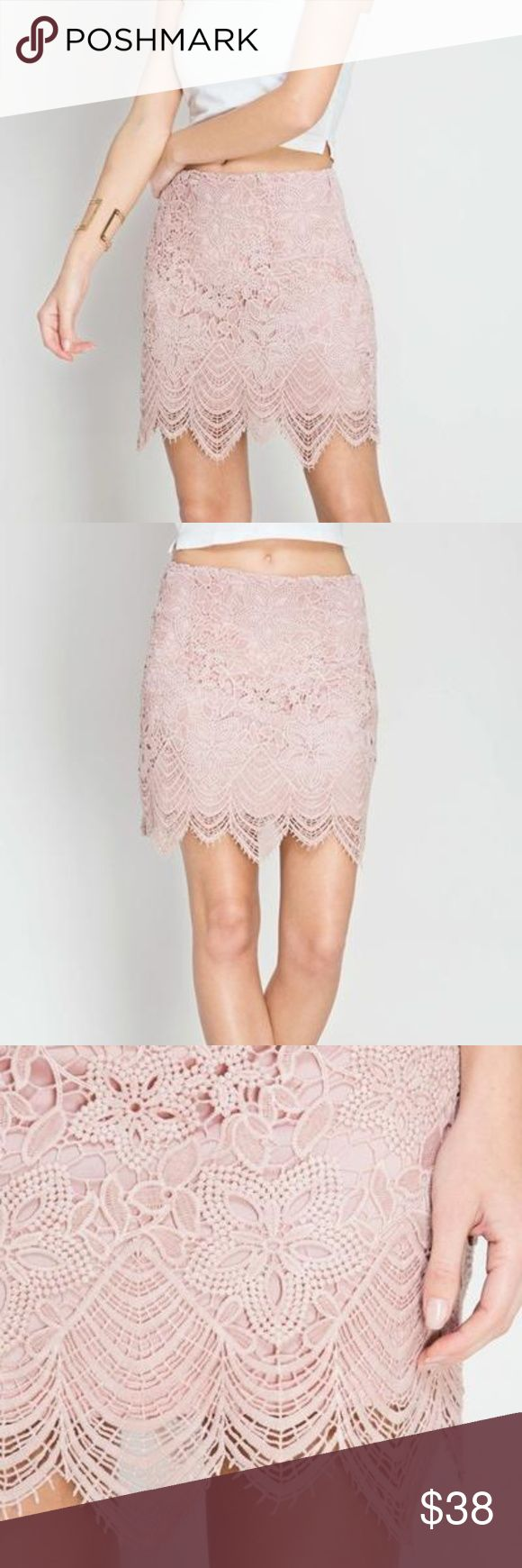 Blush Eyelash Lace Mini Skirt Scalloped Hem Pink -Eyelash lace mini skirt -Scalloped hem -Fully lined -Non-sheer -Fitted -Overlay: 60% cotton, 40% polyester -Lining: 100% polyester -True To Size Skirts Mini