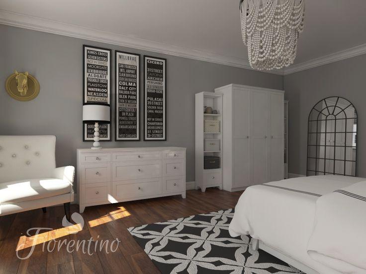 Meble Fiorentino dla dziewczynki.Złoto-białe grochy i delikatna szaroścć ścian połączona z czarnymi akcentami. Meble w kolorze ciepłej bieli.Cudo