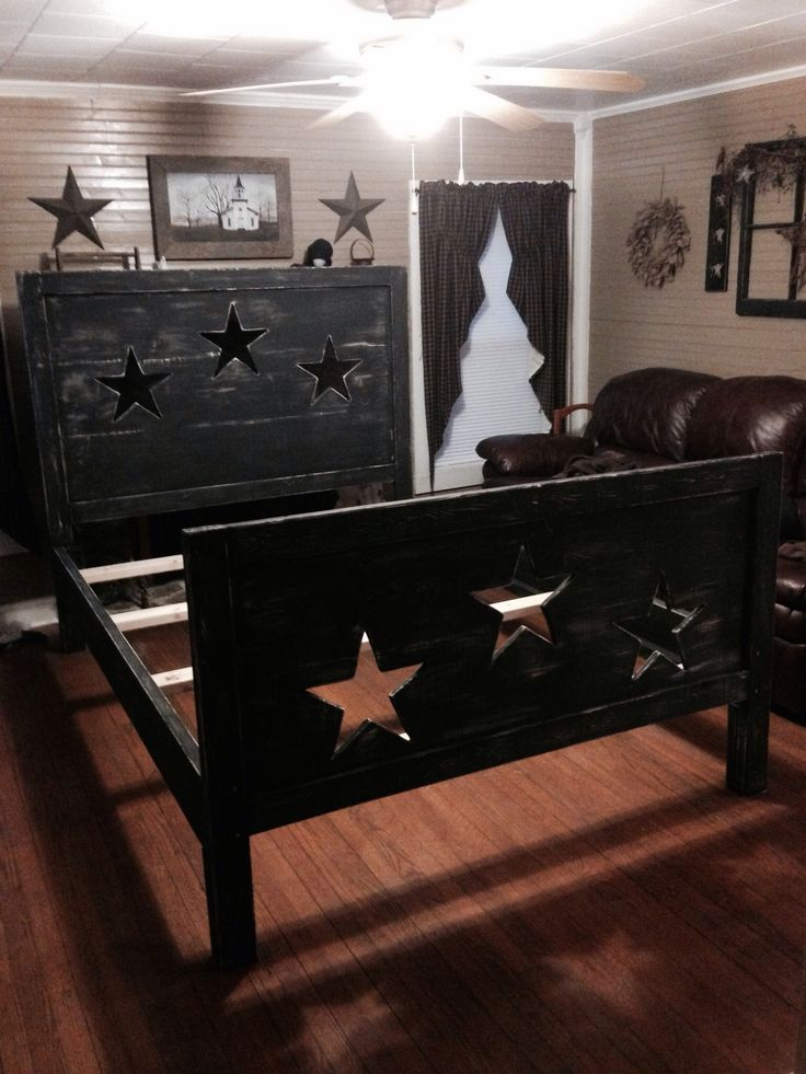 primitive star bed i could get down with this for a guest room - Rustic Country Bedroom Decorating Ideas