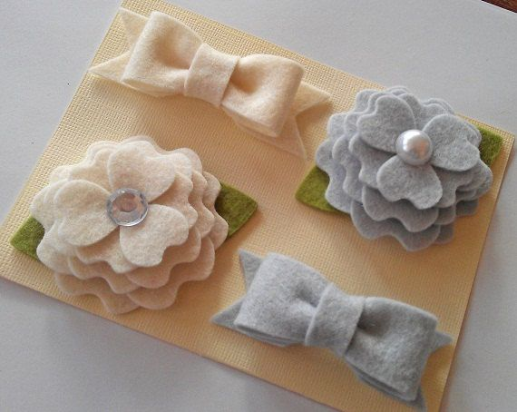 FLOWERS AND BOWS. Set of 4 Baby Clips. Felt Flowers. Hair Clips. Baby. Girls. Pick from 60 Colors. via Etsy