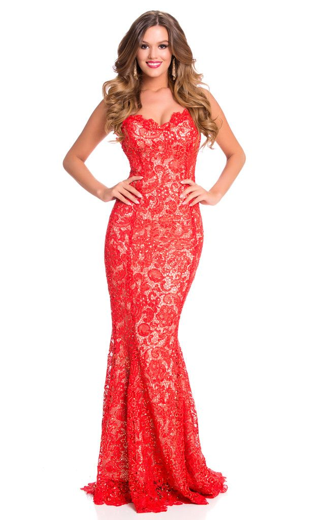 Miss Belgium from 2015 Miss Universe Contestants in Evening Gowns  Annelies Töröslooks glamorous in red lace from top to toe.