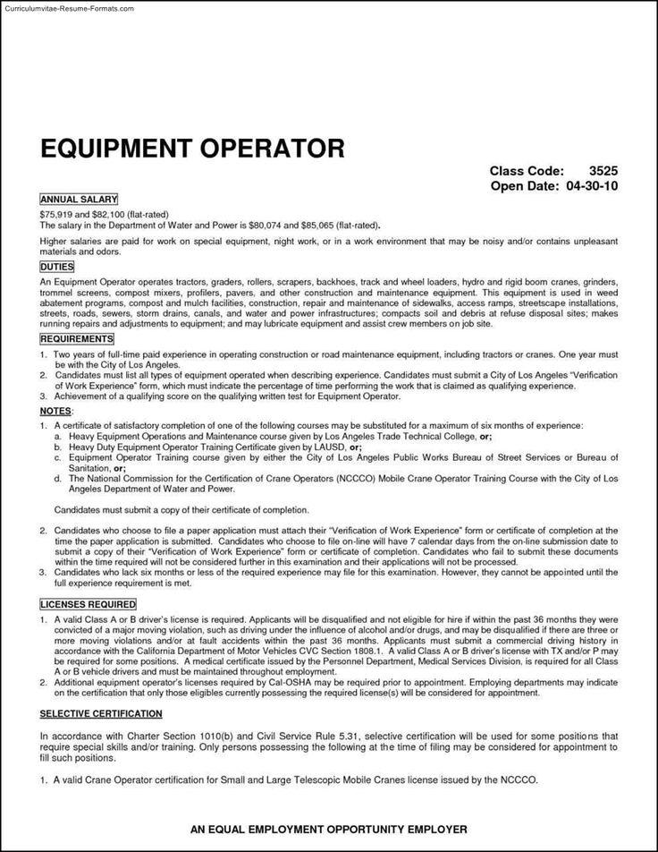 heavy equipment operator resume template free samples examples machine sample
