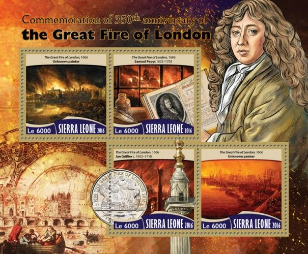 SRL16714a Commemoration of 350th anniversary of the Great Fire of London (The Great Fire of London, 1666, Unknown painter; Samuel Pepys (1633–1703); Jan Griffier c. (1652–1718))