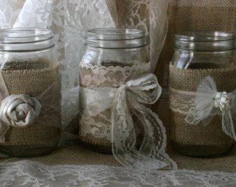 Velas arpillera y encaje para bodas