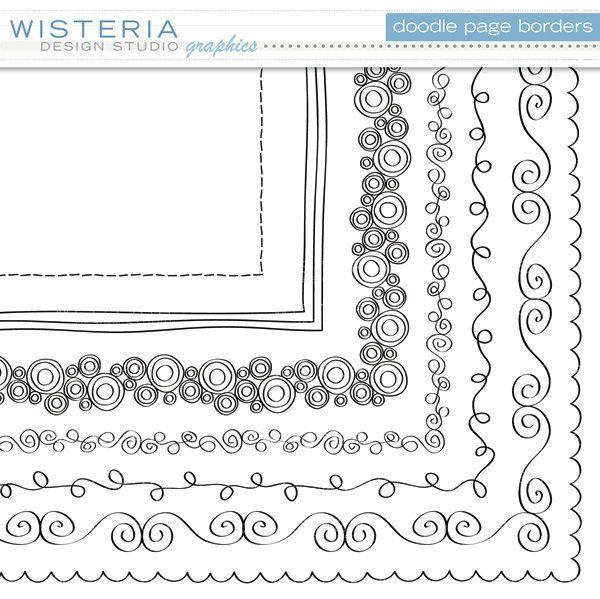 Doodle Page Borders 12 x 12 Clip Art for by WisteriaDesignStudio. $6.00 USD, via Etsy.