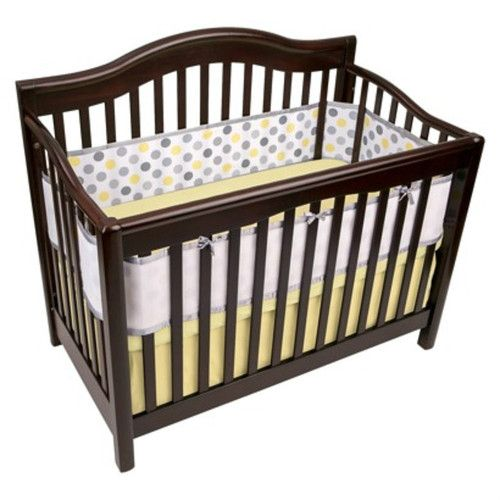 Breathable Mesh Crib Liner by Breathablebaby Grey and Yellow Dot   eBay
