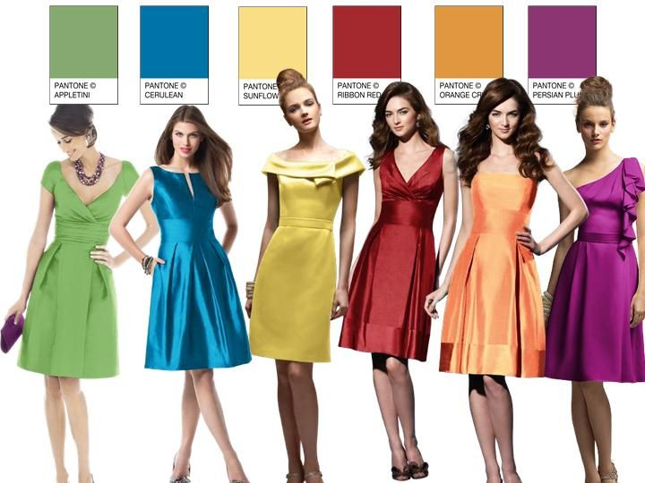 A rainbow of bridesmaids! PANTONE WEDDING Styleboard : The Dessy Group