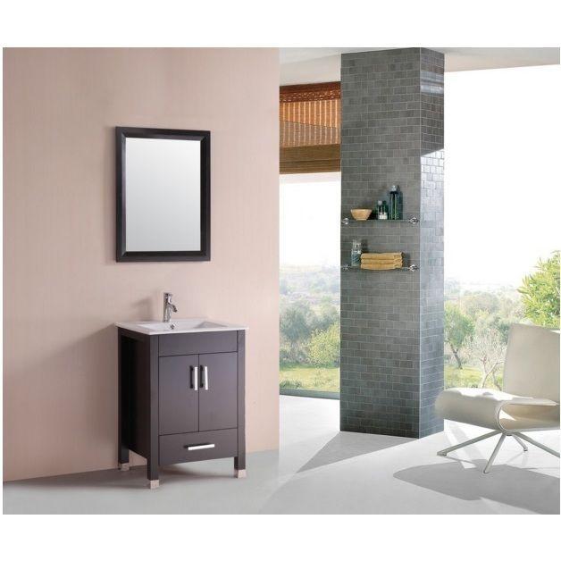 Eviva Totti Espo 24 Inch Espresso (Brown) Bathroom Vanity With Integrated  Undermount Porcelain