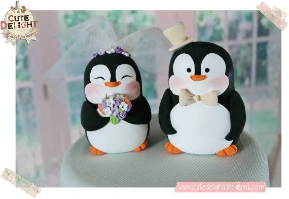 PENGUIN wedding Cake Topper Penguins Cake by CuteDelight on Etsy