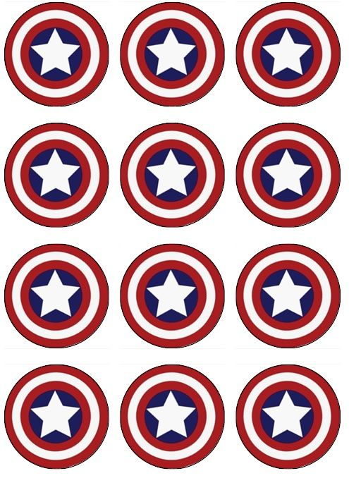 Captain America Edible Cupcake Toppers - ABC Edible Cake Art  Captain America superhero birthday  Edible Image for cupcake toppers. Yes you can EAT these cupcake toppers! No plastic toppers to throw away, no mess! DIY Birthday cake and cupcake