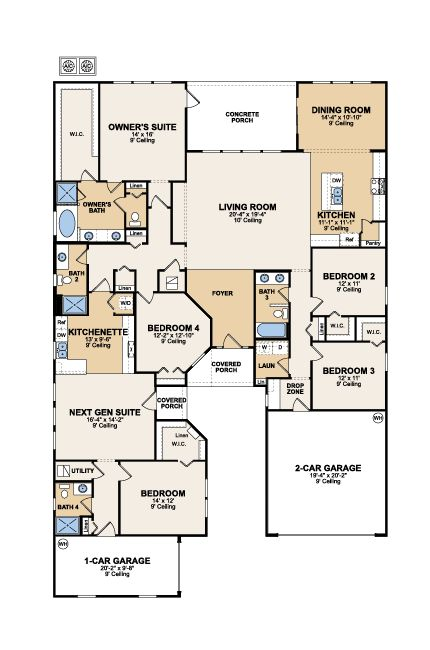 Next gen genesis the home within a home main home 3 bed for Next gen home plans