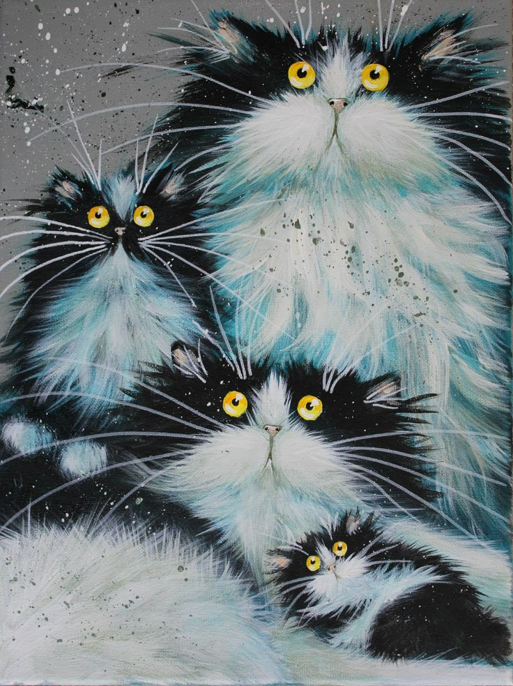 "IDEA: Explore CATS as a subject & draw/make art in many different styles. ""Family of Fur"" par Kim Haskins"