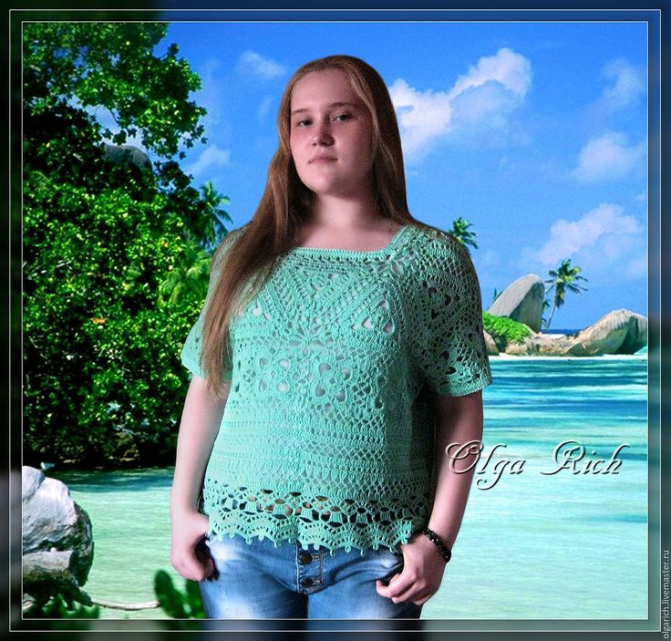 "Buy ""Atomate"" Fishnet Top - mint, ornament, crochet top, top, knitted top"
