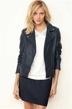 Buy Navy Leather Biker Jacket from the Next UK online shop
