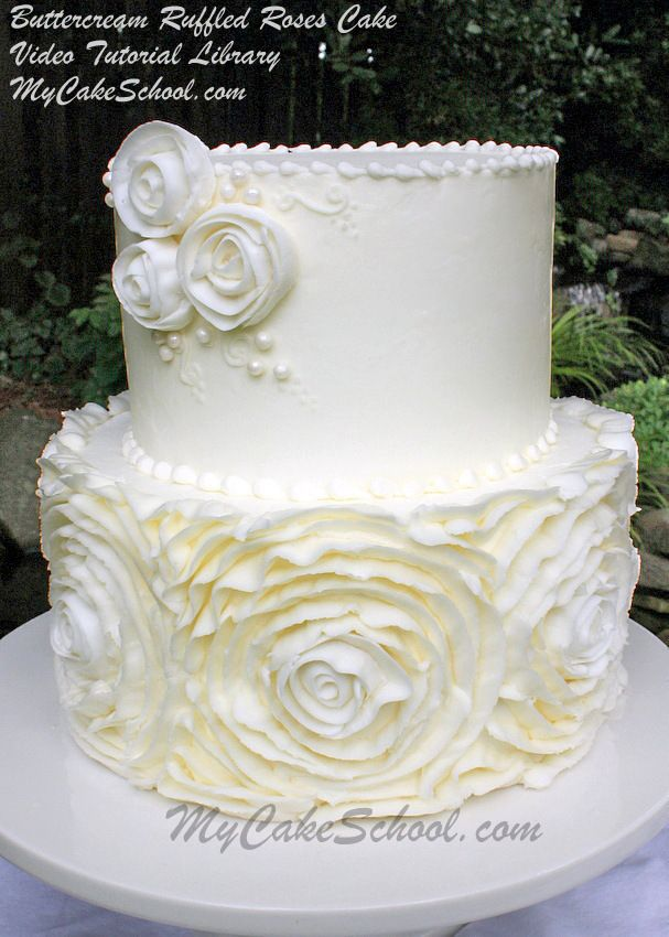 Buttercream Ruffled Roses Cake~ A Cake Video Tutorial from MyCakeSchool.com