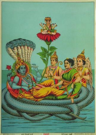 There is an ocean at the bottom of each material universe. A huge form of Vishnu reclines on Sesha Naga, an expansion of Himself. His wife Laxmi, also part of Him, massages His feet. From Vishnu (goodness) comes Brahma who begins creation (passion) within the universe.