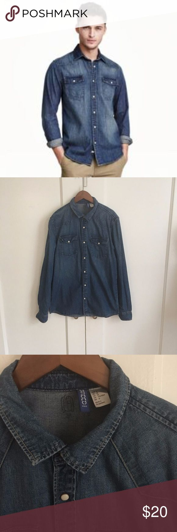 """Divided by H&M snap front denim button down shirt Divided by H&M  snap front denim button down shirt  in excellent conditions  sz m chest 19.5""""  length 25.5  long sleeves  pm704 h&m Shirts Casual Button Down Shirts"""