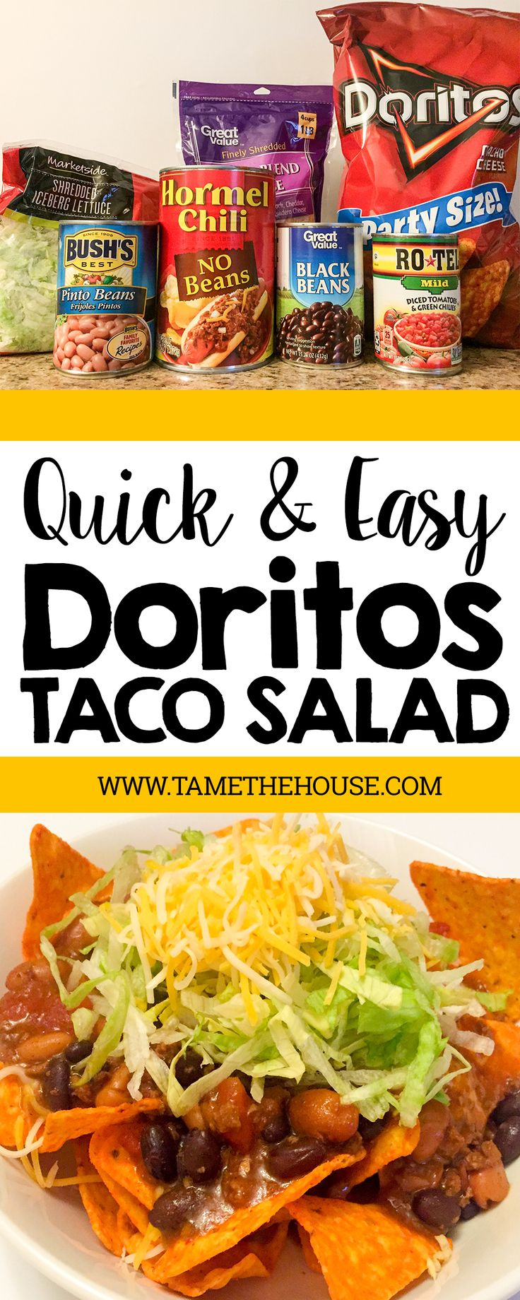 Here's a quick and easy recipe for Doritos taco salad. It only takes a few ingredients and about 20 minutes. Perfect for family night or a quick meal when you're short on time | Tame the House