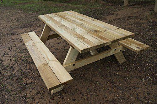 Mesa Picnic para jardin de madera tratada de 180x164x78cm, modelo BASIC                                                                                                                                                      Más