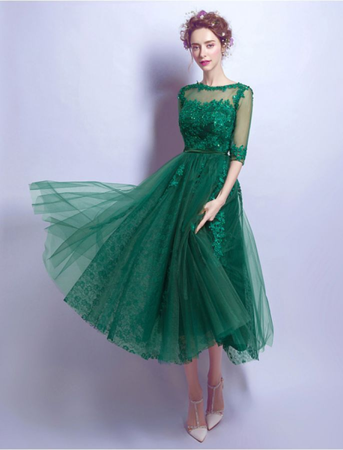 1950s Vintage Style Lace Tea Length Button Prom Evening Green Dress