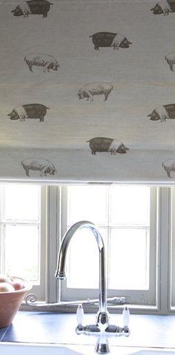 Kitchen blind in Emily Bond Saddleback Pig fabric
