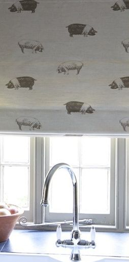 Kitchen blind in Emily Bond Saddleback Pig fabric