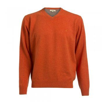 A bright orange lambswool v-neck jumper. The wool is washed giving you a beautifully soft texture. Features include a tonal wolfhound and contrasting inside collar.