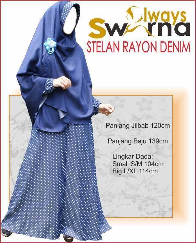 Baju Gamis Wanita Syar'i – Model Busana Muslim- Always Swarna stelan rayon denim – dongker