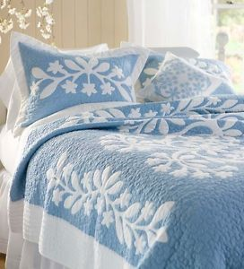 WEDGEWOOD-BLUE-Full-Queen-QUILT-SET-WHITE-FLORAL-SCROLL-CHIC-COTTON-COMFORTER
