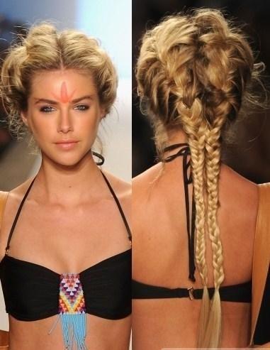 summer hair tribal braid blonde