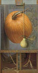 Zijaanzicht | schilderij van pompoenen in olieverf van Joke Frima | Exclusieve kunst online te koop in de webshop van Galerie Wildevuur