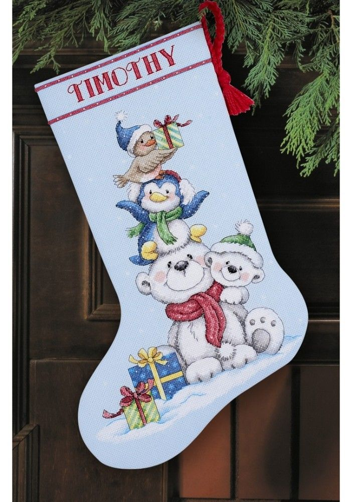 Stack of Critters Stocking: Cross stitch (Dimensions, D70-08840)