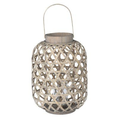 A and B Home Coconio Wood Lattice Indoor Lantern - D42182