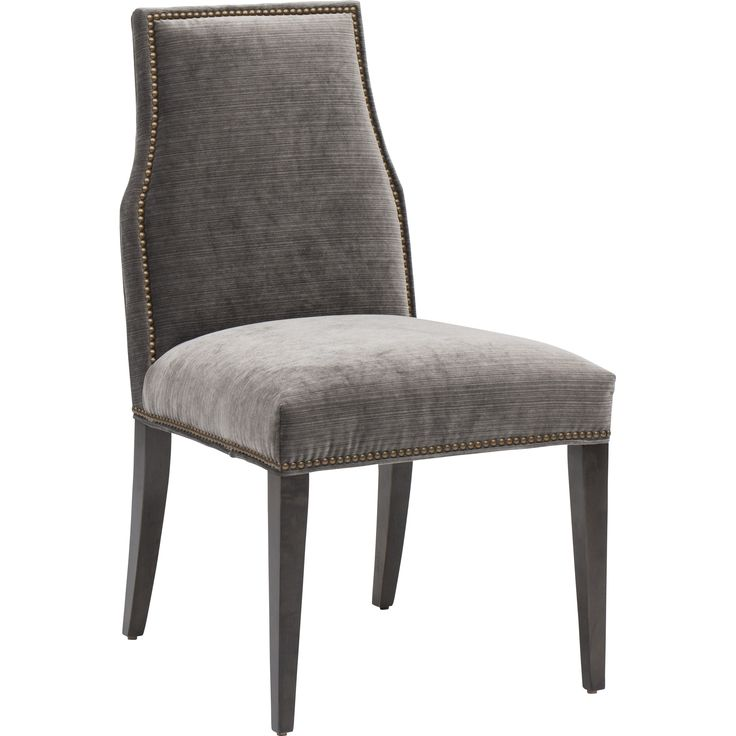 Oliver Side Chair, Valhalla Pewter, Brass Nailheads