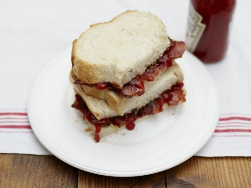 Bacon Sarnie on Christmas Morning, with ketchup for dipping of course.