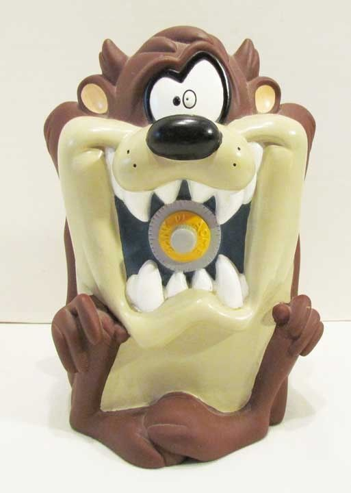 TAZ TASMANIAN DEVIL 1997 VINYL FIGURAL CARTOON CHARACTER COIN BANK LOONEY TUNES