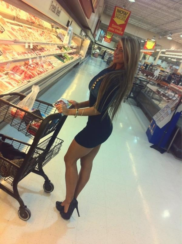 """Don't get me wrong, she is HOT but really?? It's the darn grocery store... She must be going for """"the meat."""" ha-ha"""
