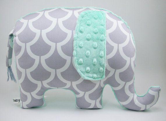Modern gray nursery decor, Elephant Pillow, grey and seafoam