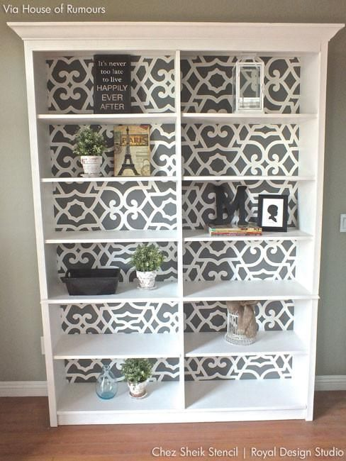 Stencil A Bookcase With Moroccan Patterns And Furniture Stencils DIYHomeDecorLivingRoom